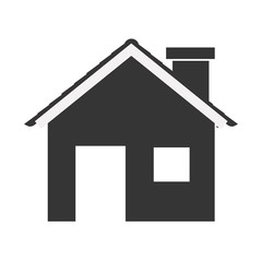 silhouette with monochrome house and fireplace vector illustration