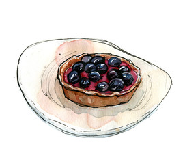Hand drawn watercolor dessert tart with blackcurrant