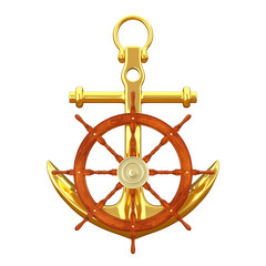Ship Steering Wheel with Golden Nautical Anchor. 3d Rendering