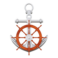 Ship Steering Wheel with Silver Nautical Anchor. 3d Rendering