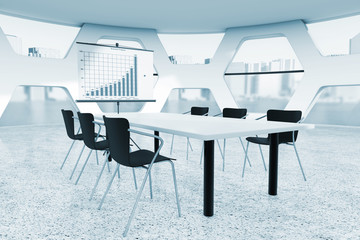Abstract Bright Office Meeting Room. 3d Rendering