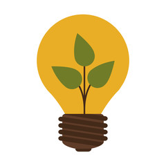 silhouette contour bulb with leaf inside vector illustration