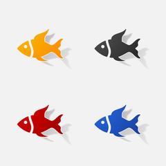 Sticker paper products realistic element design illustration fish