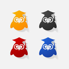 Sticker paper products realistic element design illustration owl