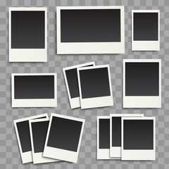 Vector photo frames on a transparent background. Vintage templates, eps10