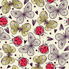 Seamless pattern with butterflies and ladybug