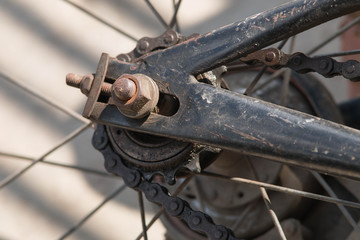 bicycle rear wheel and drive chain closeup