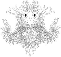 Black and white flying owl, zentangle vector illustration