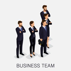 Trendy isometrics, woman and man on a light background, isolated. The team of young business people, teamwork, cooperative labor. Serious group of modern stylish people. Vector illustration