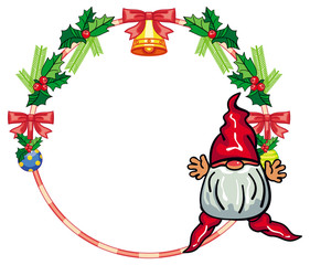 Round holiday frame with little gnome and Christmas ornament. Copy space.