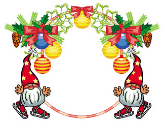 Round holiday frame with little gnome and Christmas ornament. Vector clip art.