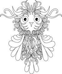 Black and white stylized owl, zentangle stock vector illustration