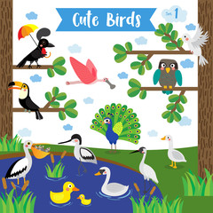 Cute Birds Animal cartoon on pond near the forest background. Duck. Dove. Peacock. Swan. Owl. Goose. Toucan. Crane. Pelican. Umbrellabird. Roseate Spoonbill. Avocet. Vector illustration. Set 1.
