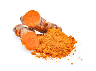 turmeric root and powder isolated on white background