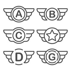 Set of the avia badges with wings. Aviation emblem set based on wing usage. Vector design graphic element for emblem, insignia, sign, identity, logotype, game team logo. Isolated vector illustration.