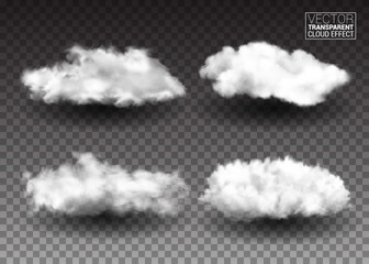 Set of Fluffy white clouds. Realistic vector design elements. smoke effect on isolated transparent background. Vector illustration