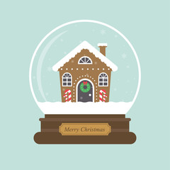 cartoon christmas snowglobe and christmas house