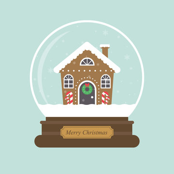 cartoon christmas snowglobe and christmas house