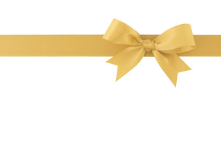 golden ribbon with bow isolated on white background, for decoration and add beauty to gift box