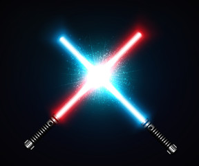 Two crossed laser swords fight red and blue