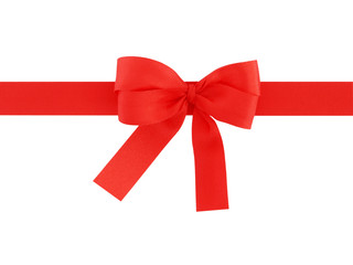 red ribbon with bow isolated on white background, for decoration and add beauty to gift box