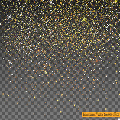Falling Shiny Gold Glitter Confetti isolated on transparent background.