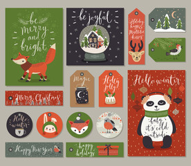 Christmas cards and tags set, hand drawn style.