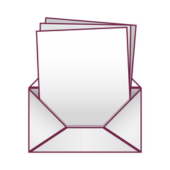 Blank paper envelopes opened with multiple sheets vector illustration