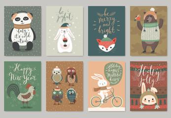 Wall Mural - Christmas card set, hand drawn style.