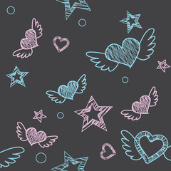 Seamless pattern. Hand drawing with chalk. Stars, hearts, etc.