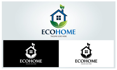 Eco home logo design template ,Home care logo design concept ,Vector illustration