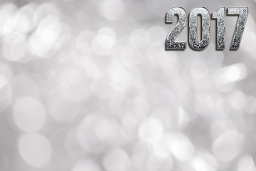 Happy New Year 2017. Background with diamond sparkling texture font and silver bokeh background for dust for flyer, poster, for holiday design, banner. calendar. Christmas design, creative decor.