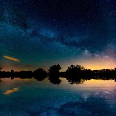 nice night sky over lake