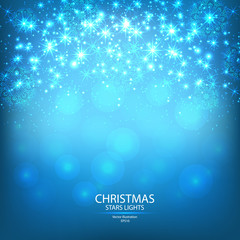 Blue Christmas ligthts and snowflakes background. Vector illustrations.