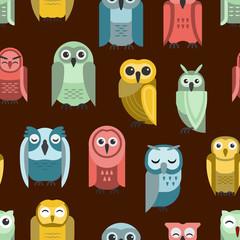 Cartoon owl vector seamless pattern