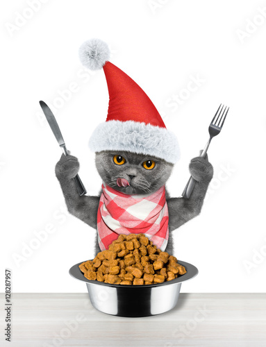Santa cat wants to eat and hold knife and fork