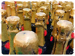 Digital watercolor painting of champagne bottles lines up ready for a celebration party.
