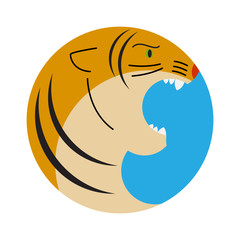 geometric image of tiger with open mouth in the circle shape
