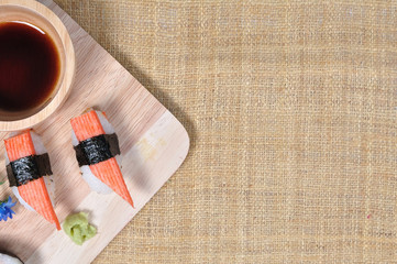 Japanese sushi with chopstick, Asian food.