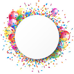 White round banner with shiny colorful confetti and balloons. Vector illustration.