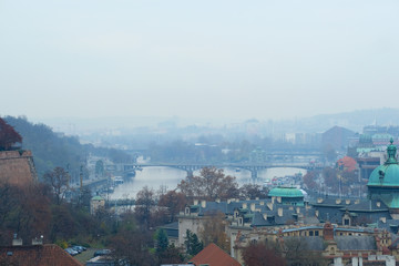 Prague, Czechia - November, 21, 2016: panorama of a historical part of Prague, Czechia