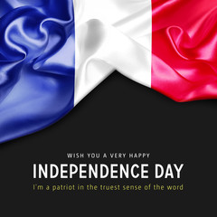 Wish you a Very Happy France Independence Day. I'm a Patriot in the truest sense of the word. 3d illustration