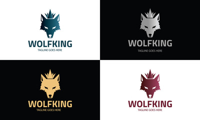 Wolf King logo design template ,Wolf head logo design concept ,Vector illustration