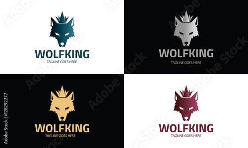 wolf king logo design template wolf head logo design concept