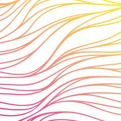 Vector color hand-drawing wave sunny background. Gradient abstra