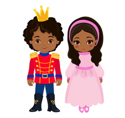 Illustration of very cute Prince and Princess. Vector illustration isolated on white background.
