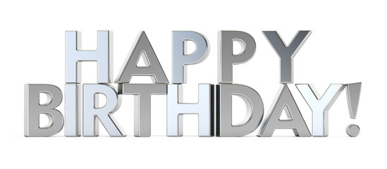 Happy Birthday concept, silver inscription. 3D rendering