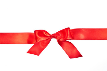 Red bow ribbon with tails isolated