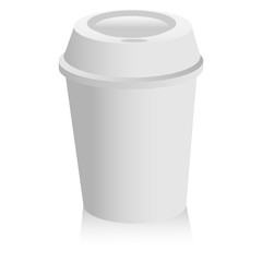 Cup of coffee on a white background with shadow. Vector illustration