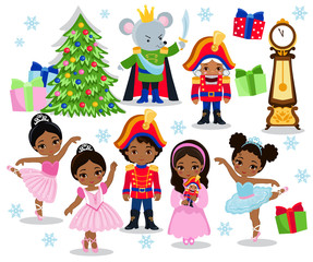 Set cartoon christmas characters for fairy tale Nutcracker. Vector illustration isolated on white background.